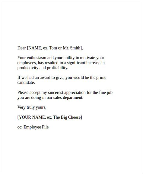 appreciation letter to business associate appreciation note to employee copyright is by career