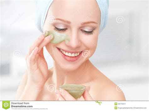 bathroom facials beautiful girl in bathroom and mask for facial skin care stock photo image 45776417