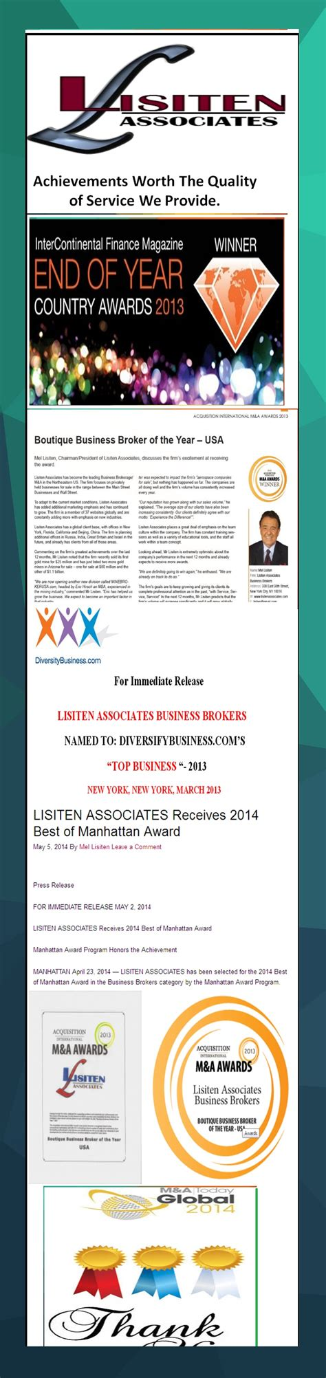 Best Broker Firms Nyc For Mba by Best Business Brokers In New York Awards For Lisiten