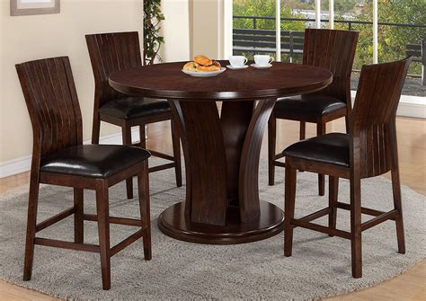 counter height dining room table compass furniture daria espresso counter height round