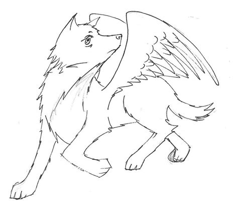winged wolf coloring page cute winged wolf coloring pages