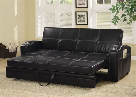 black couch bed contemporary black vinyl sofa bed by coaster