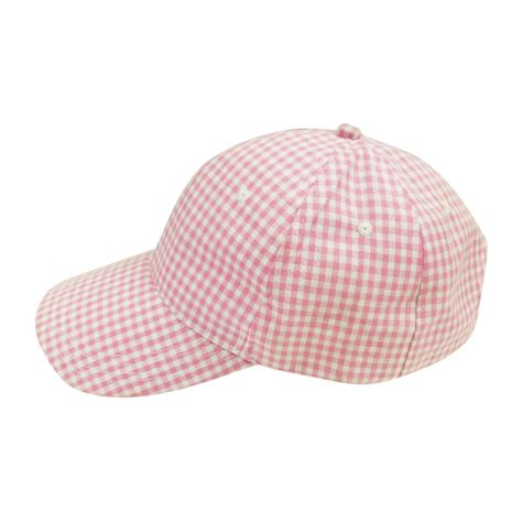 the coral palms gingham unstructured 6 panel baseball hat