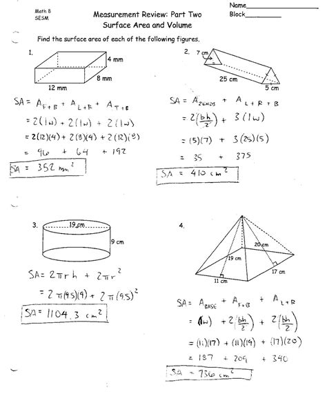 Surface Area And Volume Worksheet by Surface Area And Volume Worksheets With Answers