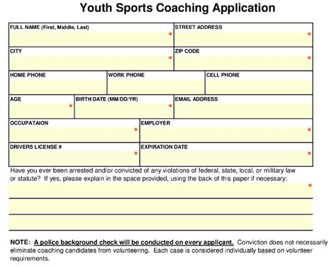 Sign Permit Application Coaching Application Form Template