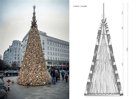 xmas tree structure heartwarming charity tree is made from 5 000 pieces of firewood in budapest