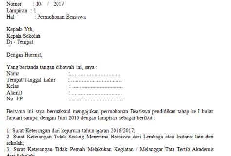 contoh surat permohonan beasiswa yang baik dan benar