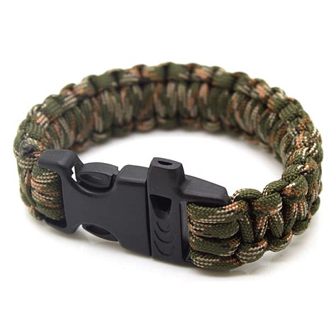 Paracord Whistle 1 survival paracord bracelet 550lbs with whistle camo green