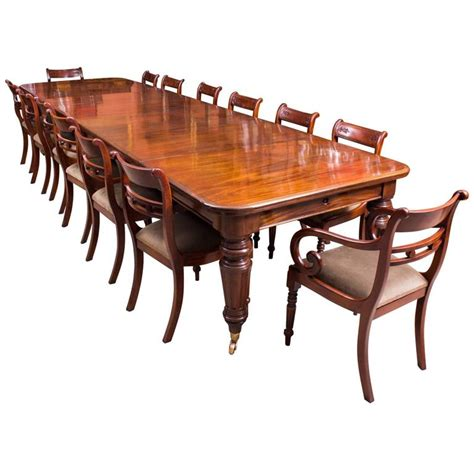 Antique Mahogany Dining Table And Chairs Antique Mahogany Extending Dining Table And 14 Chairs At 1stdibs