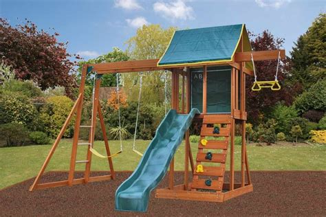 outdoor patio supplies meadowside climbing frame with slide rock wall and swings