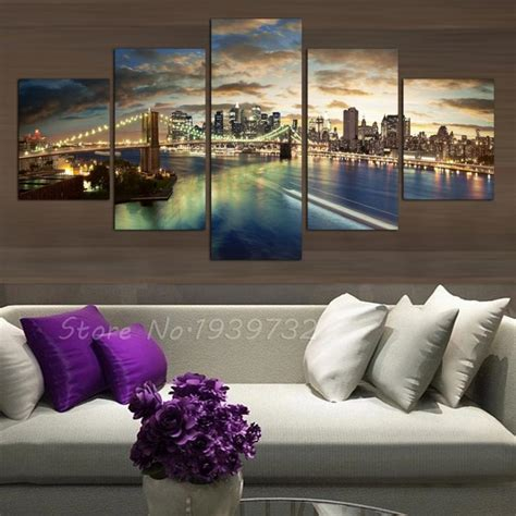 city home decor 5 panel new york city landscape canvas home decor wall art painting custom no frame direct selling