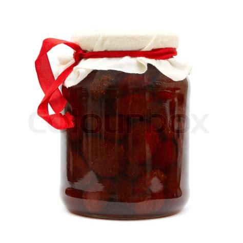 background jam strawberry jam in jar isolated on white background stock