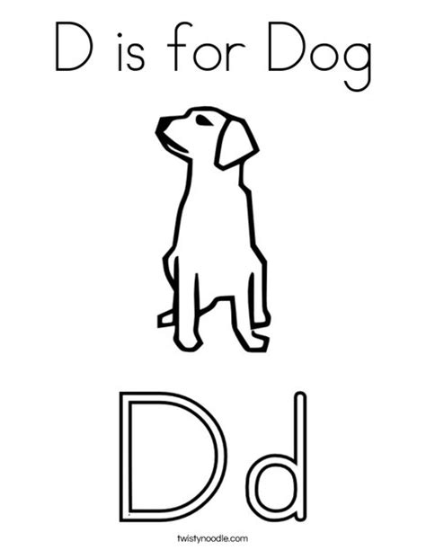 D Is For Dog Coloring Page Twisty Noodle Coloring Letter Dd