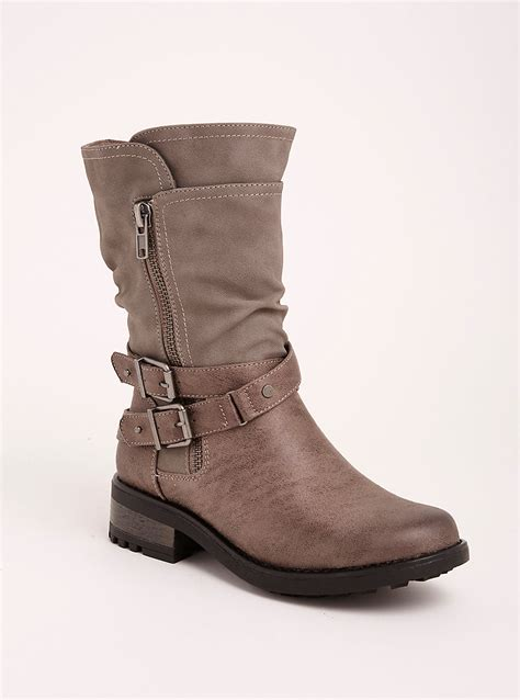 wide moto boots strappy slouch moto boots wide width wide calf torrid