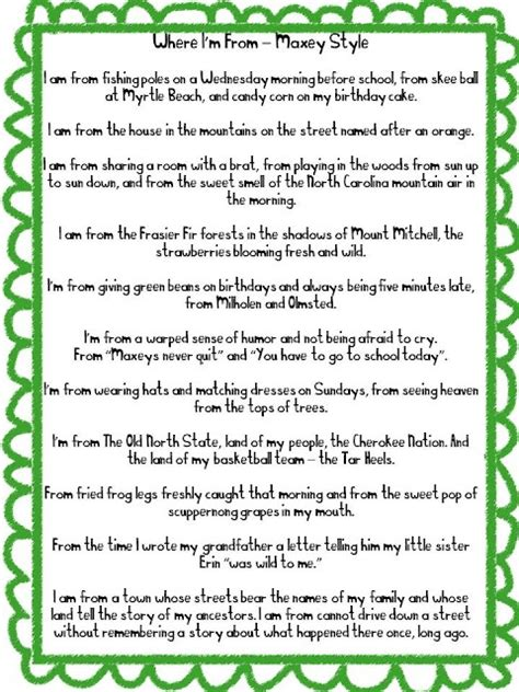 bio poem format high school category poetry mrs kramer s 28 best images about where i m from poem on pinterest