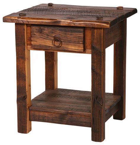 rustic accent tables rustic heritage 1 drawer nightstand rustic side tables