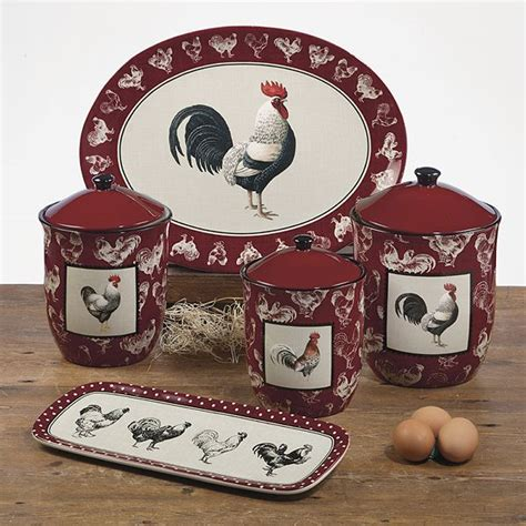 country decor rustic red rooster ceramic kitchen canister 1000 images about rooster dinnerware on pinterest lille