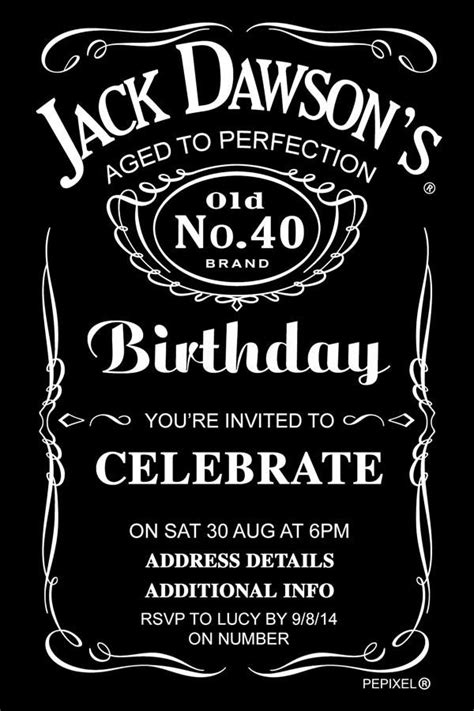 jack daniels birthday digital printable invitation