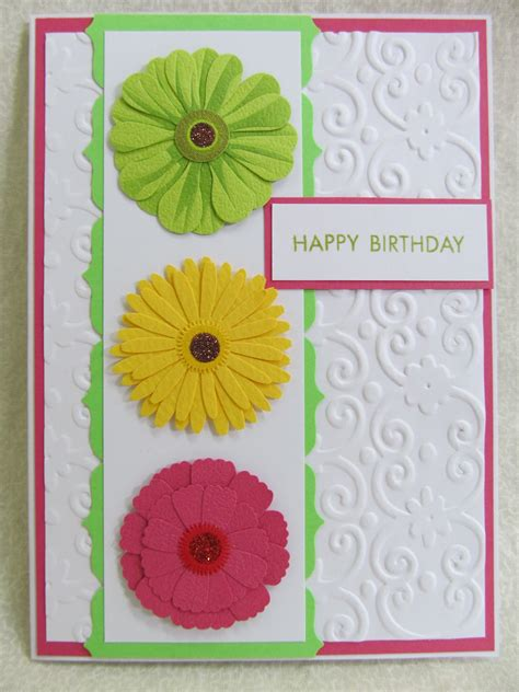 Handmade Birthday Greeting Cards - savvy handmade cards zinnia flower happy birthday card