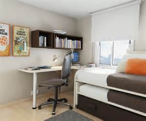 Thoughtful small room layout with sleeping and working spaces in a