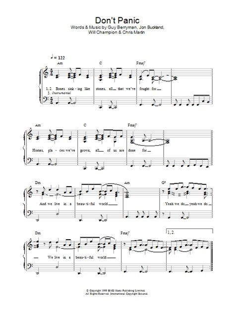 coldplay don t panic chords coldplay don t panic sheet music at stanton s sheet music