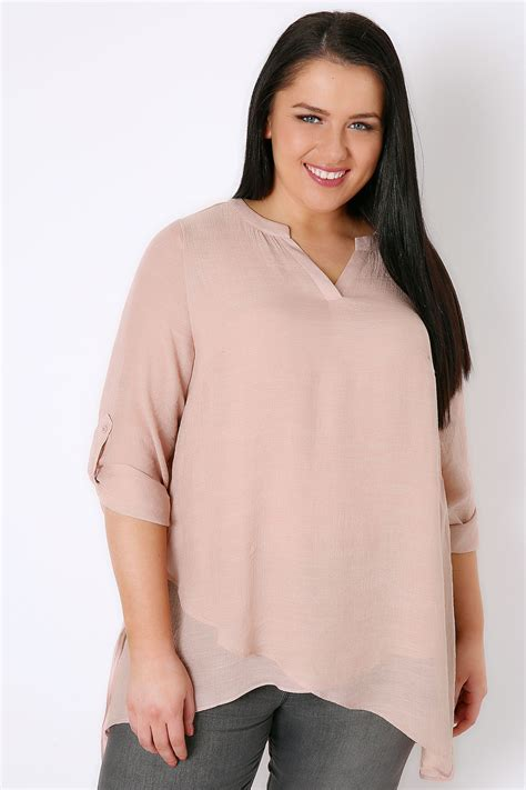 Blush On Silky blush pink notch neck silky layer blouse plus size 16 to 36