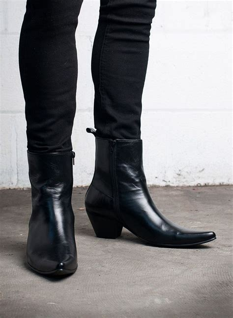 mens heeled boots kid leather blamens winklepicker boot zip cuban heel black