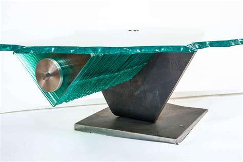 danny coffee table steel and glass circa