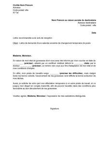 Modification Contrat De Travail Grossesse by Lettre De Demande De Changement Temporaire De Poste Par