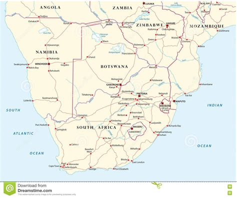printable road map of southern africa road map of the states of southern africa stock