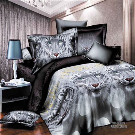 free shipping 3d white lion tiger bedding sets 4 pcs queen