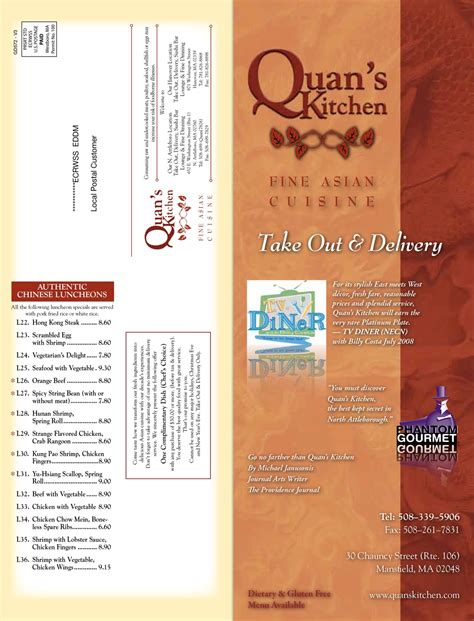 Quans Kitchen Mansfield by Quans Kitchen Mansfield Take Out Menu