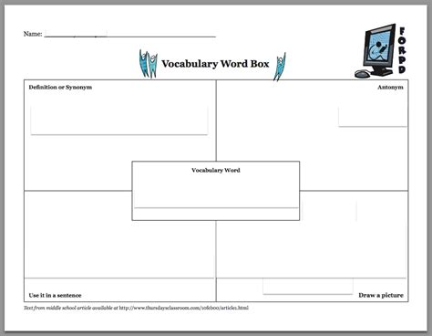 templates for words 18 vocabulary graphic organizers images frayer model