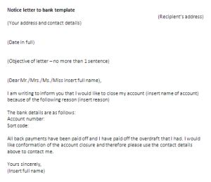 Bank Notification Letter To Customer notice letter to bank template letter of notice sle