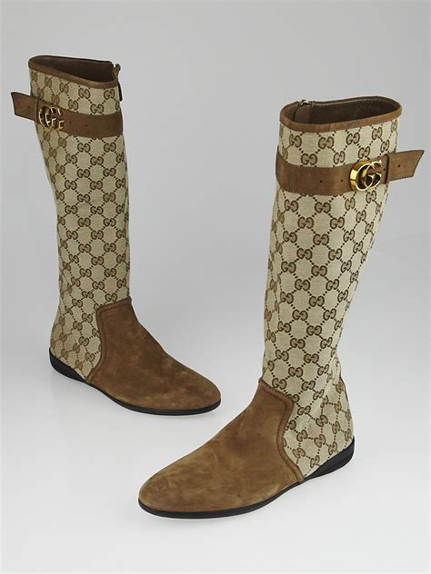 gucci beige gg canvas and suede knee high flat boots