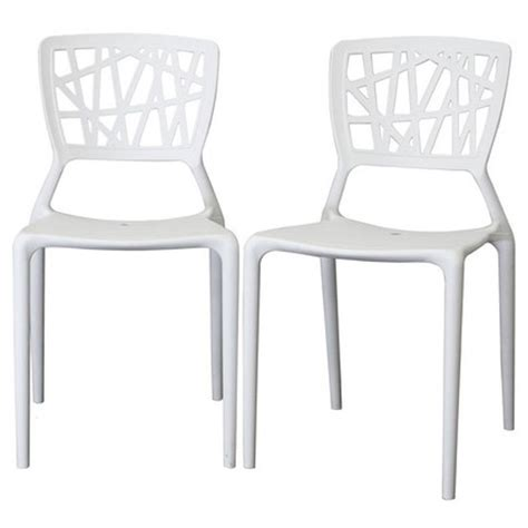 White Plastic Dining Chairs Oketo Stackable White Plastic Modern Dining Chair Dcg Stores