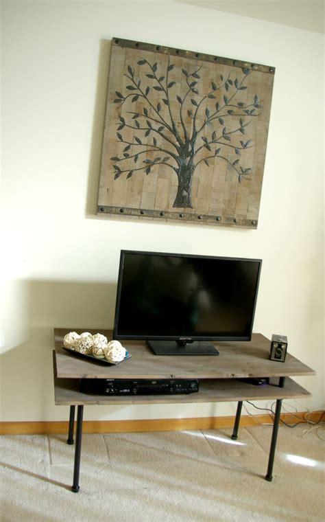diy tv stand  blend  industrial rustic  modern