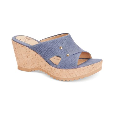 s 246 fft sancia platform wedge sandals in blue denim blue