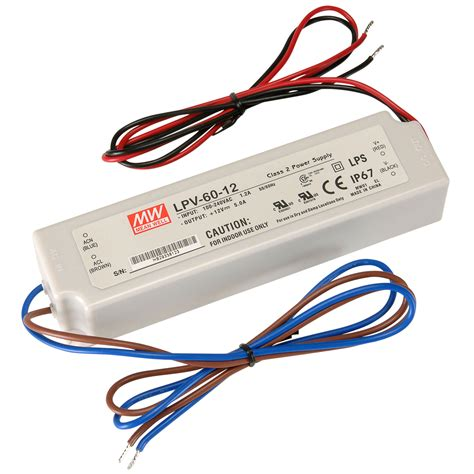Led Driver 12v300w Water Reistence well mw lvp 60 12 12 vdc 5a water resistant ac adapter ip67 wire leads