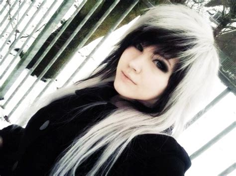 emo hairstyles black and white beautiful emo snow girl models female people