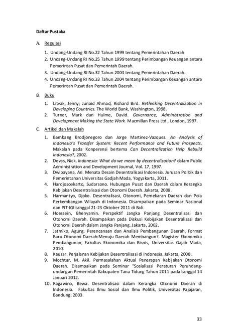 Hubungan Keuangan Antara Pemerintah Pusat Ahmad Yani desentralisasi dan otonomi daerah di indonesia konsep