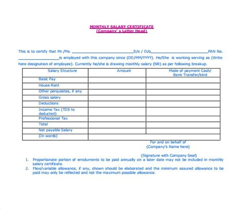 7 Free Salary Certificate Templates Excel Pdf Formats Salary Template