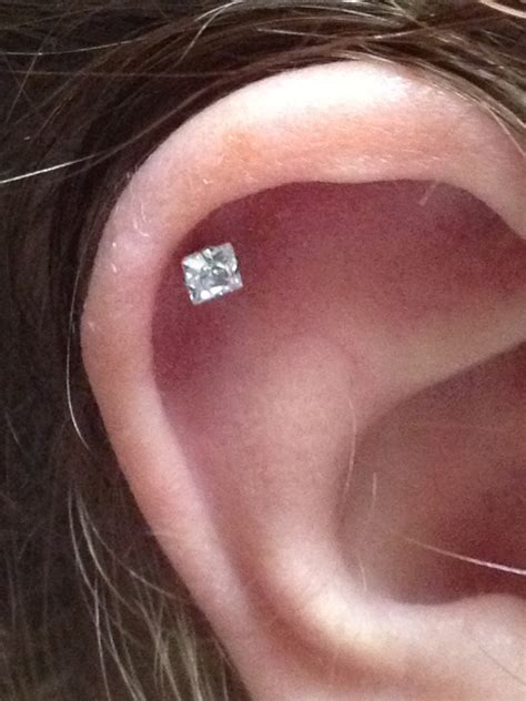 Piercing Cartilage At Home by Ear Cartilage Piercing With Beautiful Gem