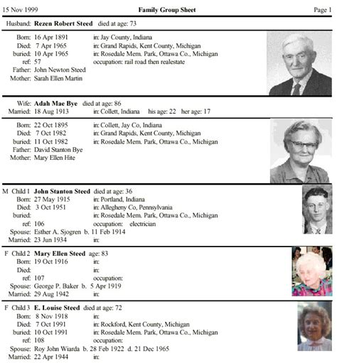 family tree report template brothers keeper genealogy program sle reports