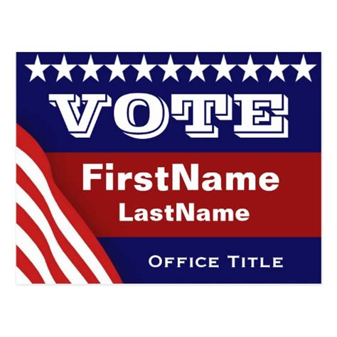vote cards templates custom caign election template postcard zazzle