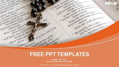 Black bead rosary in open bible PowerPoint Templates 16:9 Powerpoint Christian Templates Free