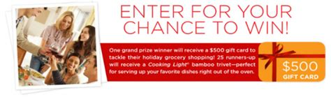 Cooking Light Sweepstakes - cooking light holiday hostess must haves sweepstakes win a 500 grocery store