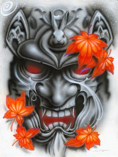 japanese devil mask tattoo designs