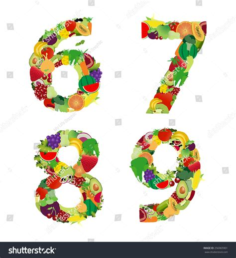 fruit 7 letters fruit vegetable alphabet letter number 6 stock vector