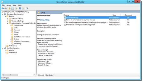gpo management console set up clients for microsoft laps local administrator